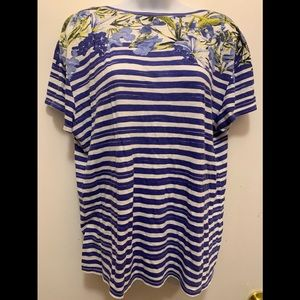 Loft Blue and White Tops size XL Great Jean Top